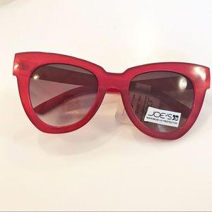 Joe's Jeans red plastic sunglasses oversized